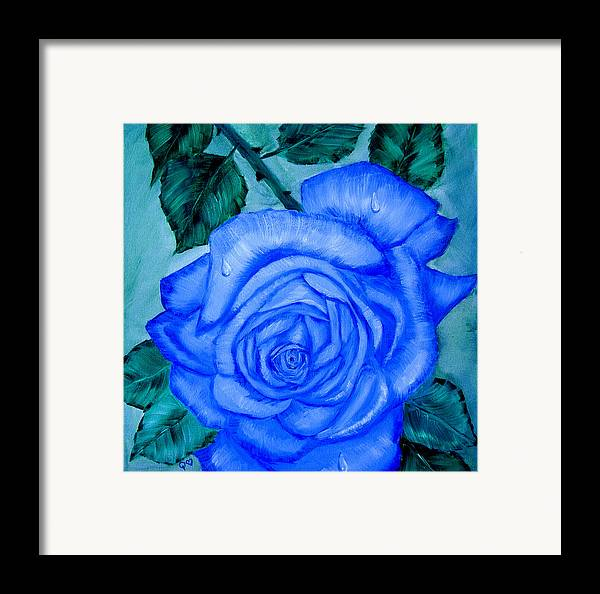 Rose Framed Print featuring the painting Blue Rose by Quwatha Valentine