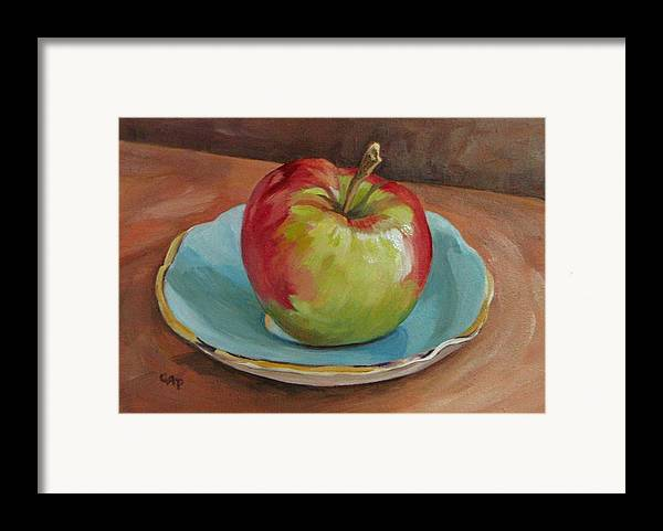 Still Life Framed Print featuring the painting Blue Saucer With Apple by Cheryl Pass