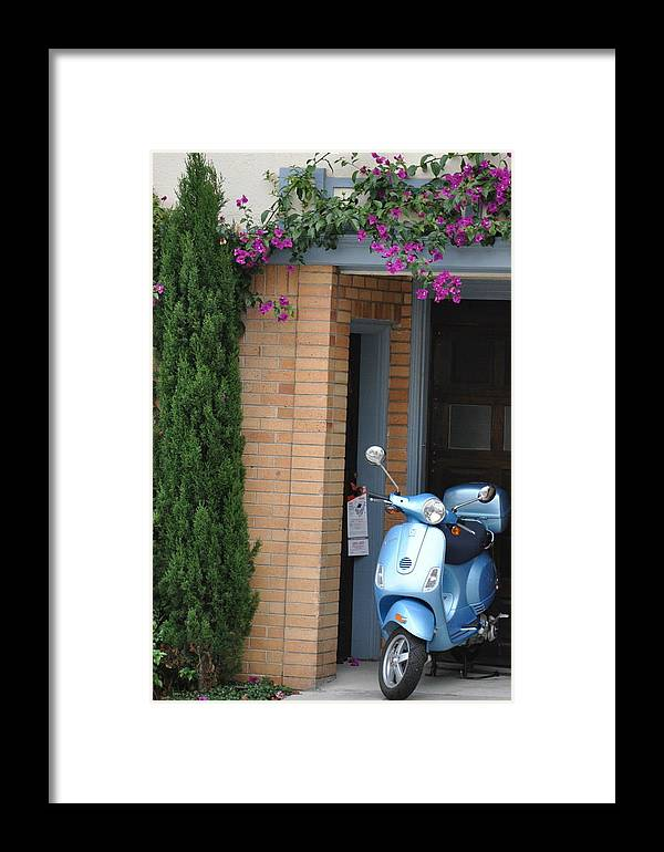 Scooter Framed Print featuring the photograph Blue Scooter by Vijay Sharon Govender