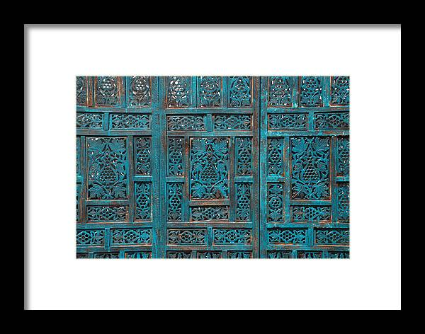 Abstract Framed Print featuring the photograph Blue Screens by William Thomas
