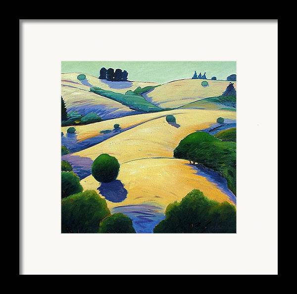 California Landscape Framed Print featuring the painting Blue Shadows Of Sunset by Gary Coleman