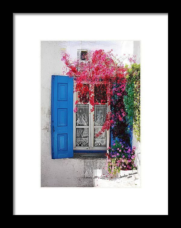 Window Framed Print featuring the digital art Blue Shutters by Joselyn Holcombe