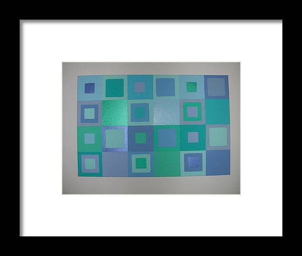 Pastel Blue Metallic Squares Painting Framed Print featuring the painting Blue Skies by Gay Dallek