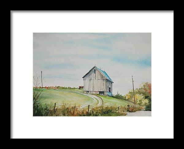 Landscape Framed Print featuring the painting Blue Skies by Mike Yazel