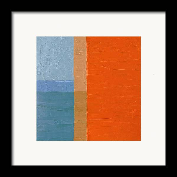 Abstract Framed Print featuring the painting Blue Sky Around The Corner by Michelle Calkins