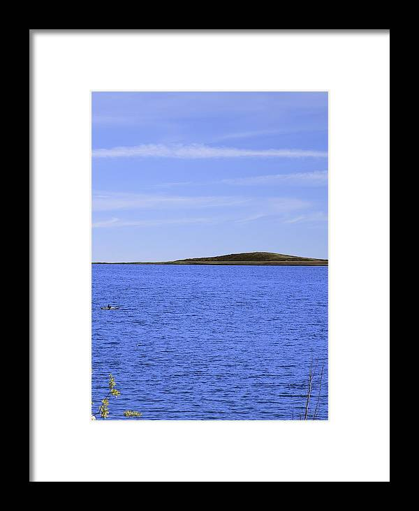 Blue Framed Print featuring the photograph Blue Sky Blue Water And Earth Divider by Viktor Savchenko
