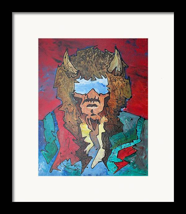 Native American Framed Print featuring the painting Blue Sky Mind That Alights My Soul by Ernie Scott- Dust Rising Studios