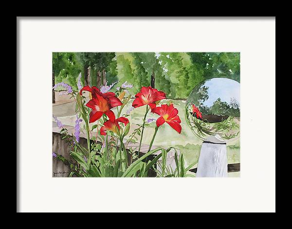 Flowers Framed Print featuring the painting Blue Sky Reflections by Jean Blackmer