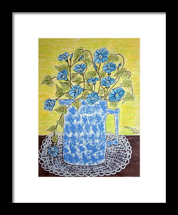 Blue Framed Print featuring the painting Blue Spongeware Pitcher Morning Glories by Kathy Marrs Chandler
