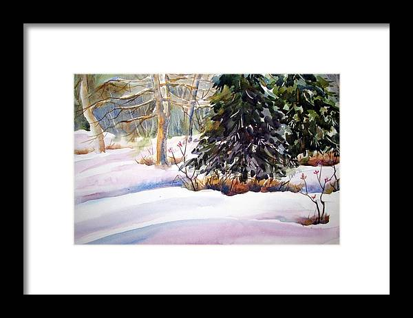 Watercolor Framed Print featuring the painting Blue Spruce by Chito Gonzaga