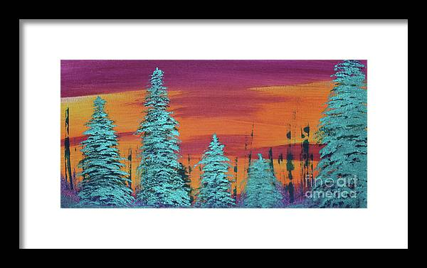Ramona Framed Print featuring the painting Blue Spruce Sunset by Ramona