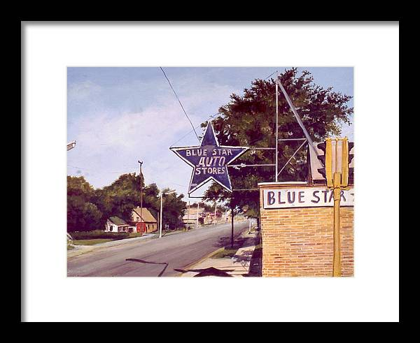 Landscape Harvey Illinois Framed Print featuring the painting Blue Star Auto by William Brody