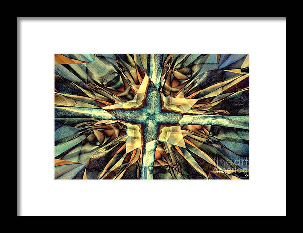 Abstract Framed Print featuring the digital art Blue Star by Ron Bissett