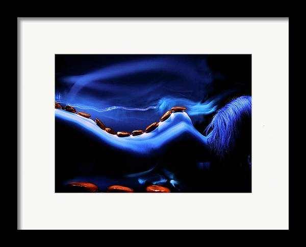 Light Painted Nude Framed Print featuring the photograph Blue Stone Dream by Catalin Anastase