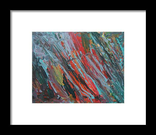 Streaks Framed Print featuring the painting Blue Streaks by Kitty Hansen
