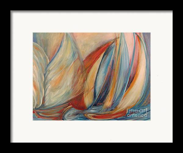 Abstract Sailing Ocean Original Painiting Leilaatkinson Framed Print featuring the painting Blue Stream by Leila Atkinson