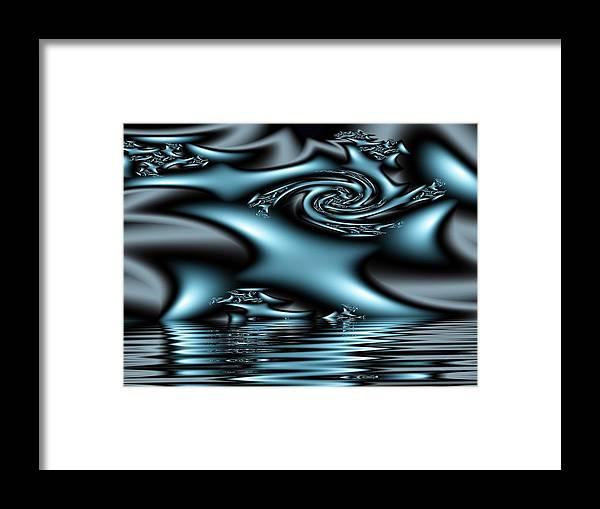 Fractals Blue Lake Sun River Water Framed Print featuring the digital art Blue Sun by Veronica Jackson