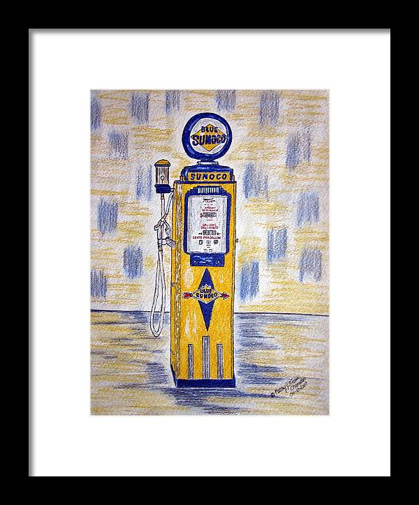Blue Sunoco Framed Print featuring the painting Blue Sunoco Gas Pump by Kathy Marrs Chandler