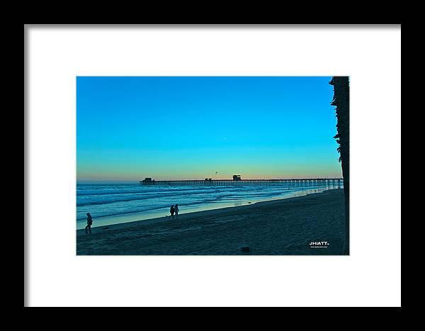 Digital Art Framed Print featuring the digital art Blue Sunset by Justin Hiatt