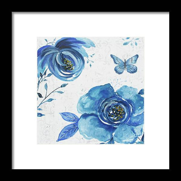 Blue Framed Print featuring the painting Blue Symphonie In The Garden 1 by Jean Plout