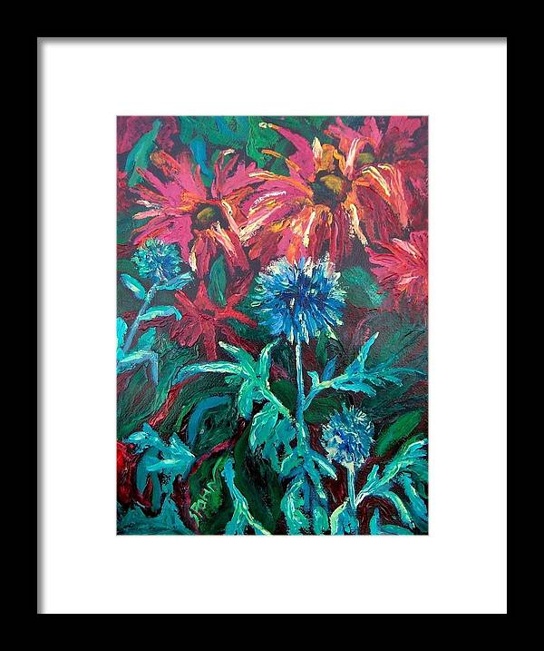 Red Framed Print featuring the painting Blue Thistle And Bee Balm by Susan Spohn