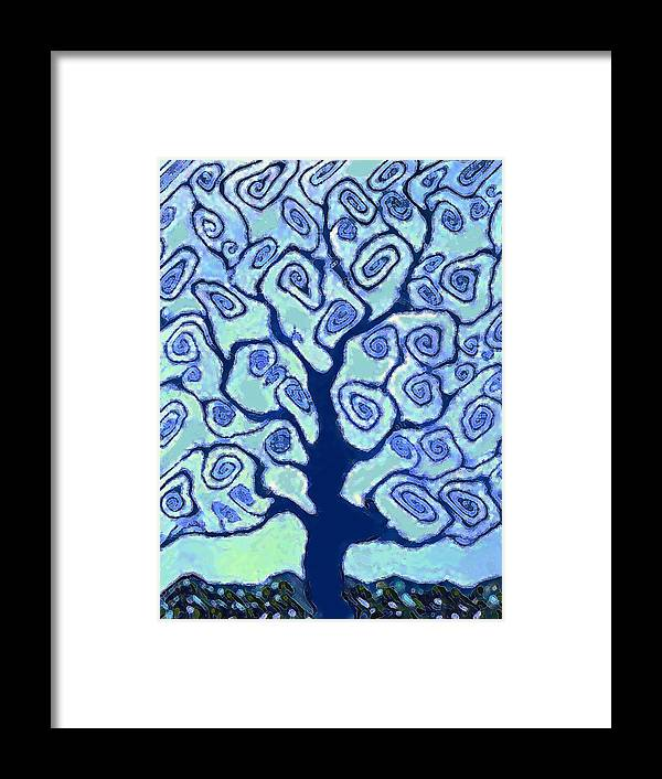Landscape Framed Print featuring the painting Blue Tree by Vicky Brago-Mitchell