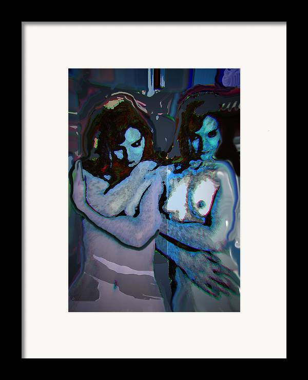 Portrait Framed Print featuring the mixed media Blue Twins by Noredin