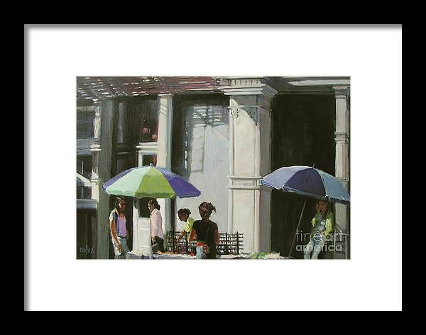 City Framed Print featuring the painting Blue Umbrellas by Patti Mollica