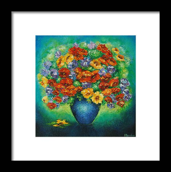 Flowers Framed Print featuring the painting Blue Vase. by Evgenia Davidov