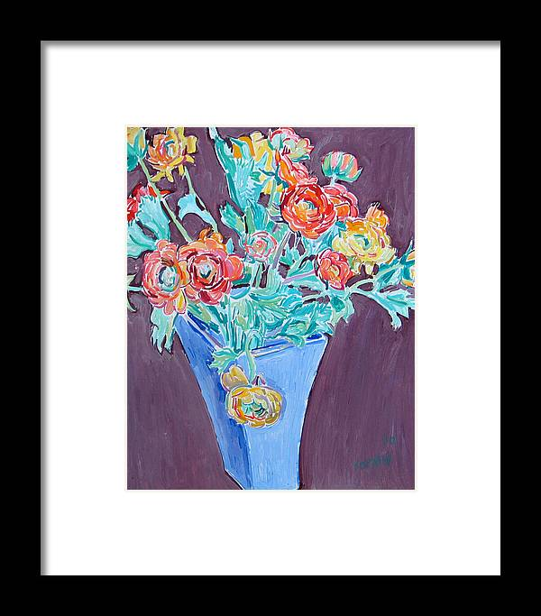 Blue Framed Print featuring the painting Blue Vase With Flowers by Vitali Komarov