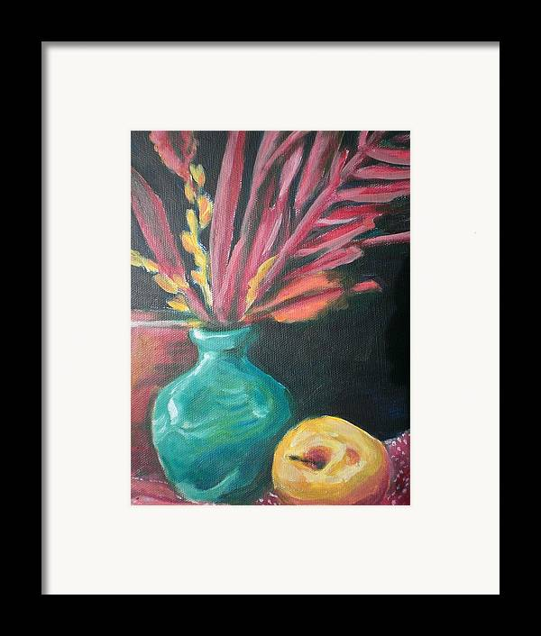 Framed Print featuring the painting Blue Vase With Red by Aleksandra Buha
