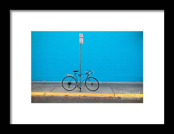 Bicycle Framed Print featuring the photograph Blue Wall Bicycle by Craig J Satterlee