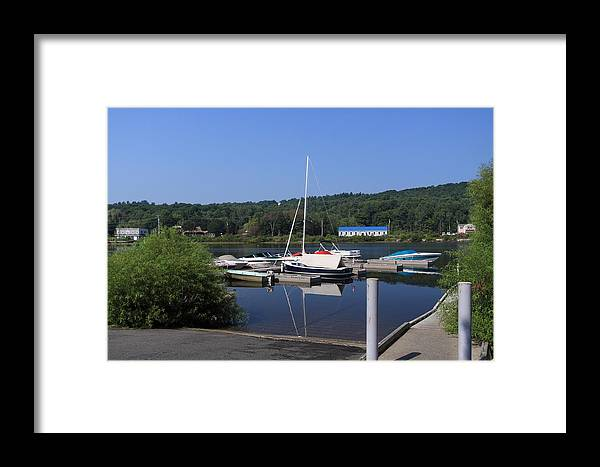 Boats Framed Print featuring the photograph Blue Water Boats by Lewis Journeyman