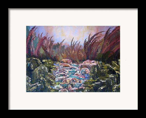 Water Framed Print featuring the painting Blue Water by Laura Tveras