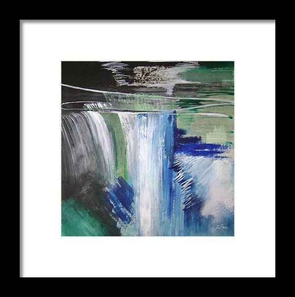 Abstract Framed Print featuring the mixed media Blue Waterfalls by Lian Zhen