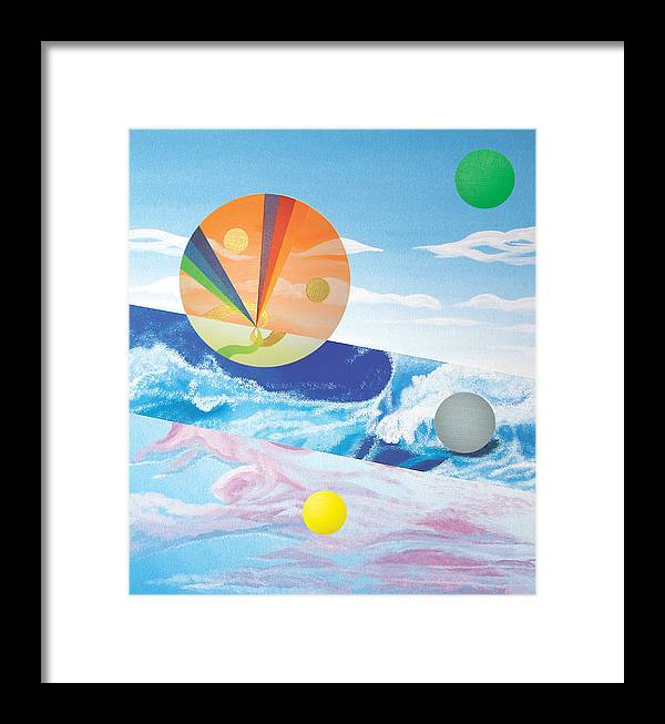 Abstract Framed Print featuring the painting Blue Wave by Eliot LeBow