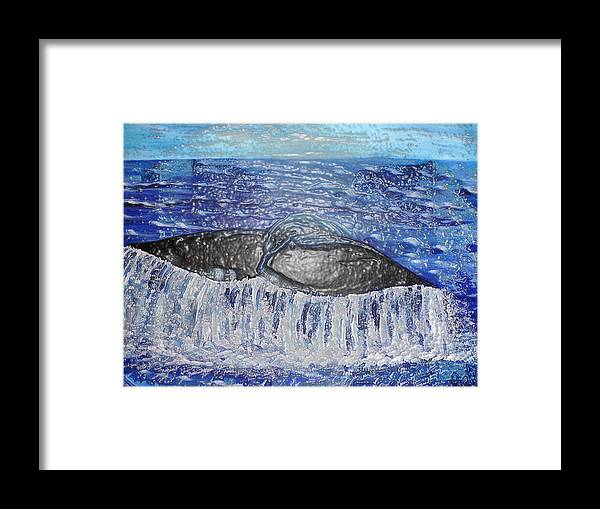 Pietyz Framed Print featuring the painting Blue Whale 1 by Piety Dsilva
