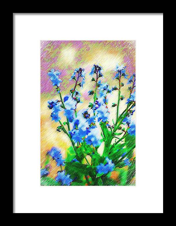 Blue Framed Print featuring the photograph Blue Wildflowers by Donna Bentley