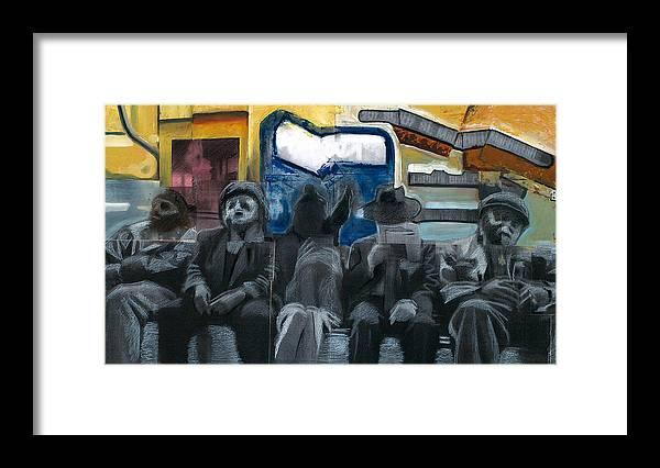 Abstract Framed Print featuring the painting Blue Window by Dmitry Gubin
