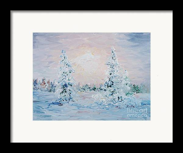 Landscape Framed Print featuring the painting Blue Winter by Nadine Rippelmeyer