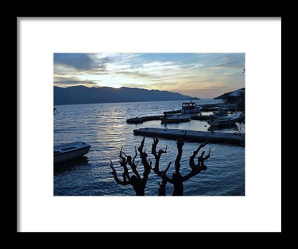 Viganj Framed Print featuring the photograph Blue Winter Sunset by De La Rosa Concert Photography