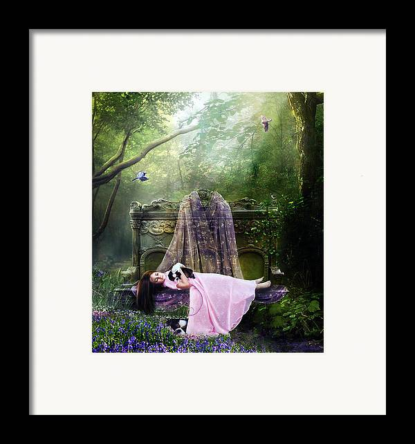 Girl Framed Print featuring the digital art Bluebell Dreams by Mary Hood