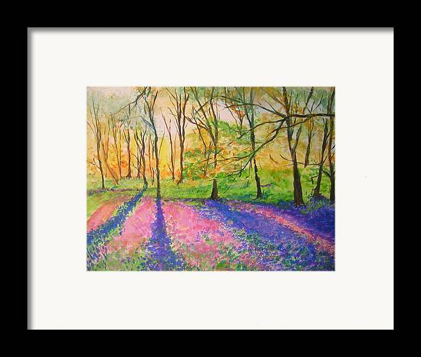 Landscape Framed Print featuring the painting Bluebell Wood by Lizzy Forrester