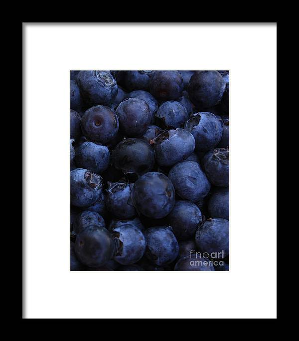 Blueberries Framed Print featuring the photograph Blueberries Close-up - Vertical by Carol Groenen
