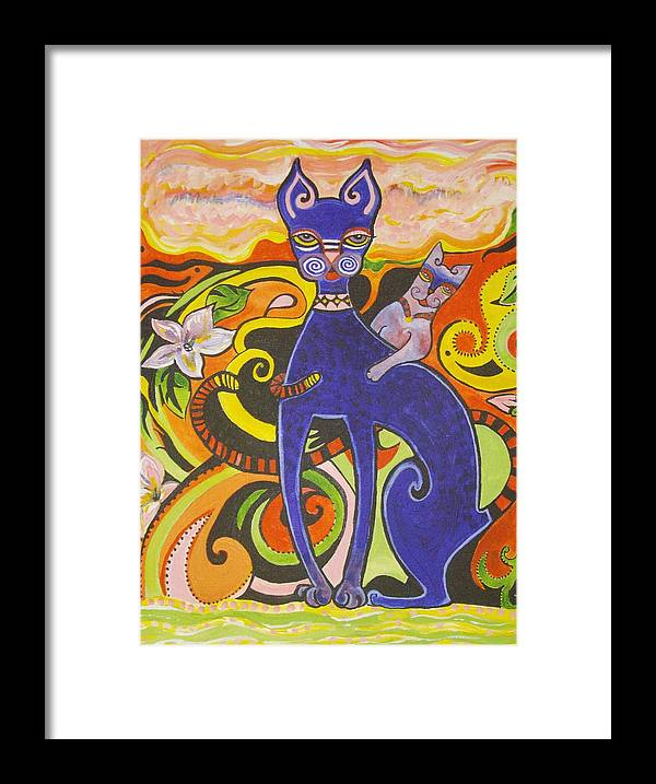 Cat Framed Print featuring the painting Blueberry Cat by Elizabeth Bonanza
