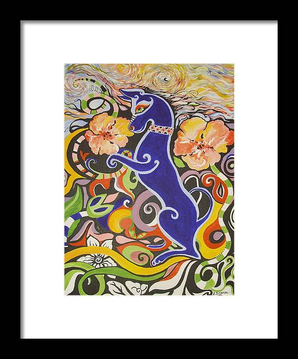 Landscape Framed Print featuring the painting Blueberry Dog by Elizabeth Bonanza