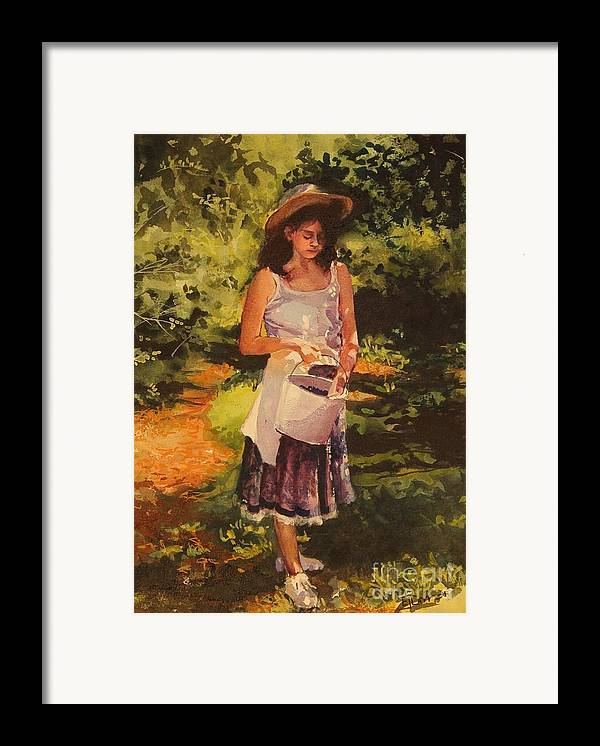 Girl Framed Print featuring the painting Blueberry Girl by Elizabeth Carr