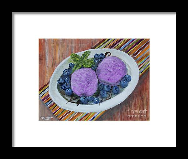 Still Life Framed Print featuring the painting Blueberry Ice Cream Party by Lyric Lucas