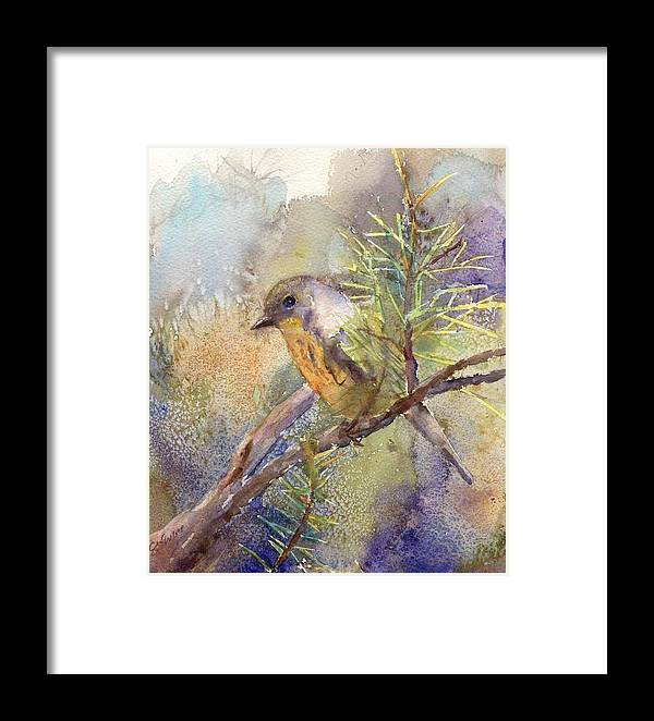 Nature Framed Print featuring the painting Bluebird by Elizabeth Evans