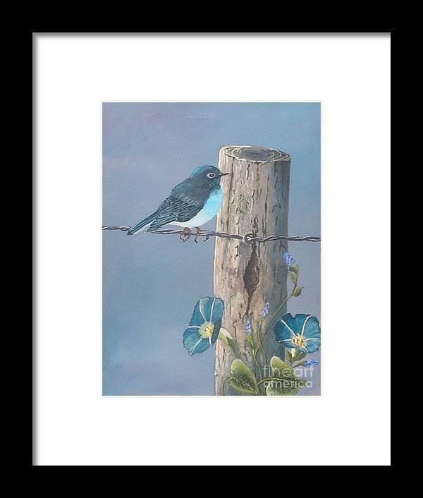 Bluebird Framed Print featuring the painting Bluebird by John Wise